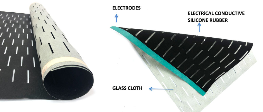 Fiber reinforced electrical conductive silicone rubber